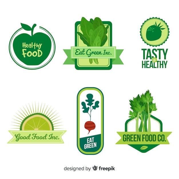 平らな健康食品のロゴ 無料ベクター