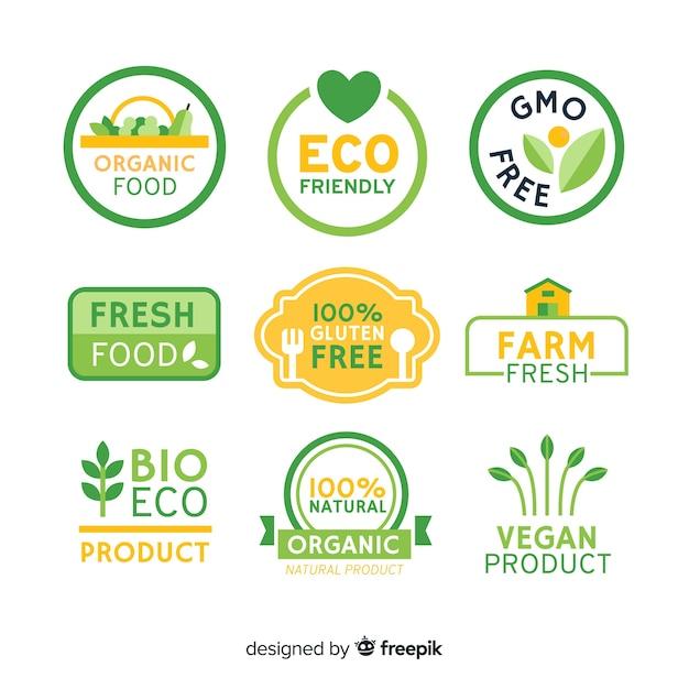平らな有機食品のラベル 無料ベクター