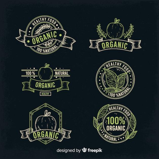 Коллекция старинных органических продуктов питания этикетки Бесплатные векторы