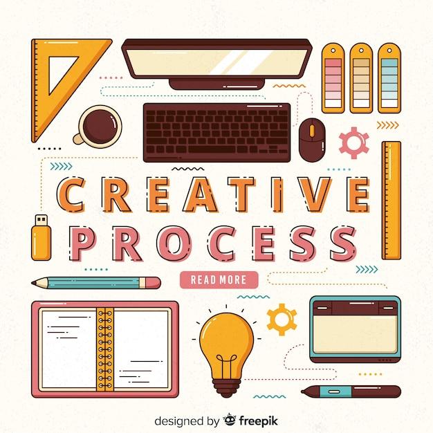 Графический дизайн, творческий процесс Бесплатные векторы