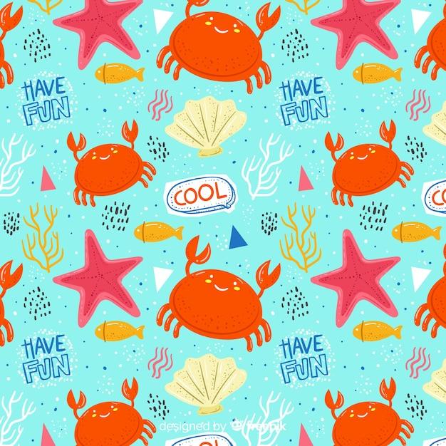 Красочный рисунок морских животных и слова шаблон Бесплатные векторы