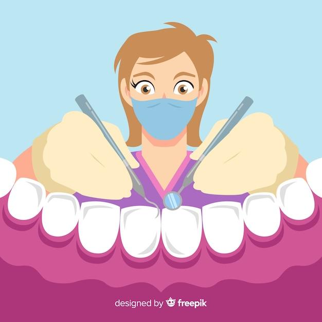 歯の背景の世話をしてフラット歯科医 無料ベクター