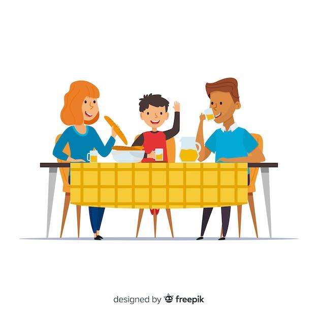 手描き家族一緒に食べる 無料ベクター