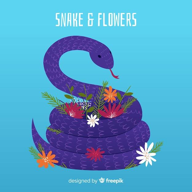 手描きのヘビと花のイラスト 無料ベクター