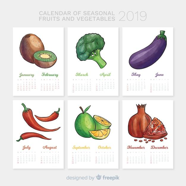 野菜や果物の季節カレンダー 無料ベクター