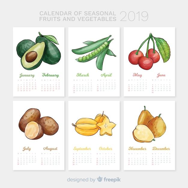 Сезонный календарь овощей и фруктов Бесплатные векторы