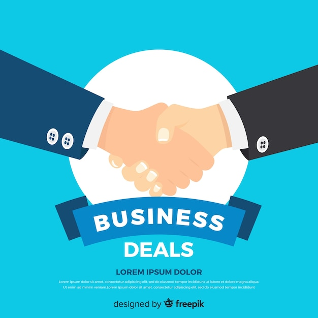 平らなビジネス取引の概念 無料ベクター