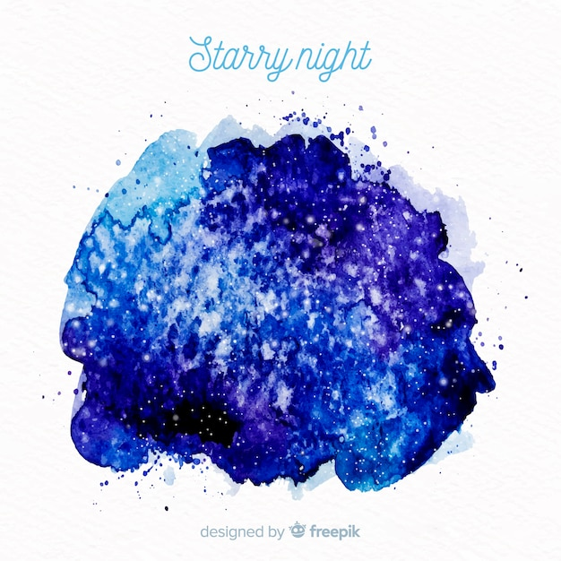水彩星空の夜の背景 無料ベクター