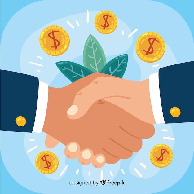 手描きのビジネス取引の概念 無料ベクター
