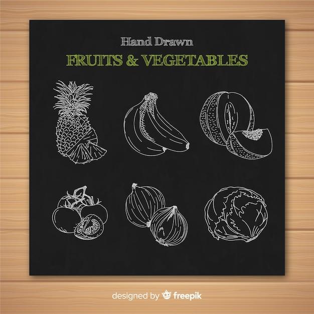 黒板の果物と野菜のコレクション 無料ベクター