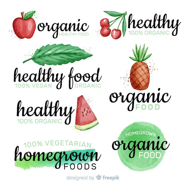 水彩健康食品ロゴセット 無料ベクター