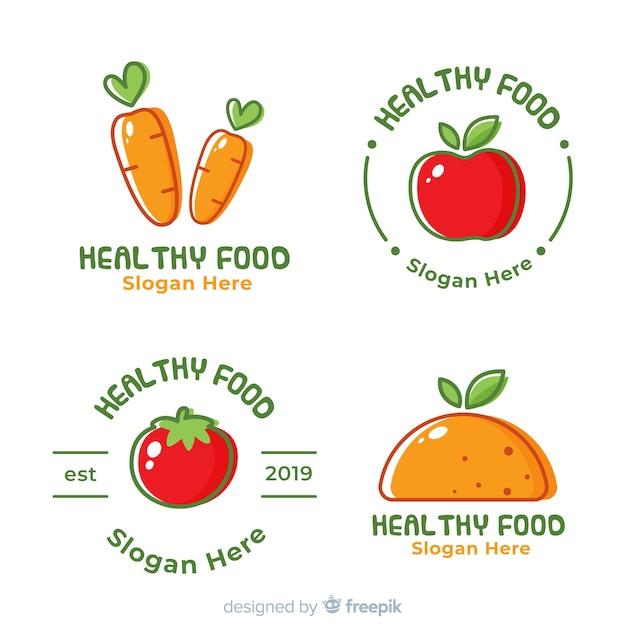 手描き健康食品のロゴのセット 無料ベクター