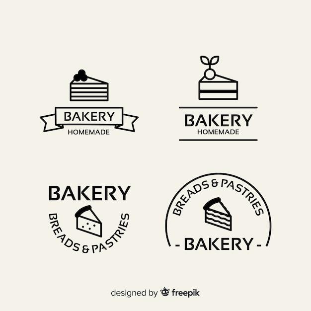 フラットベーカリーのロゴのテンプレート 無料ベクター