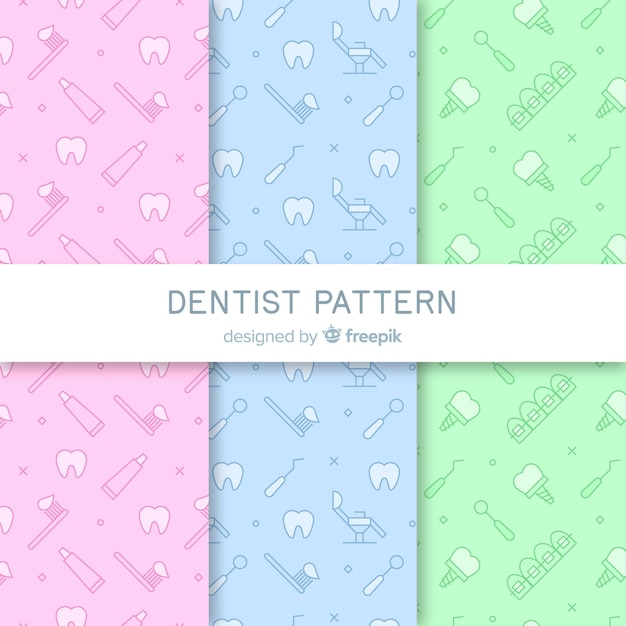 平らな歯科医のパターン 無料ベクター