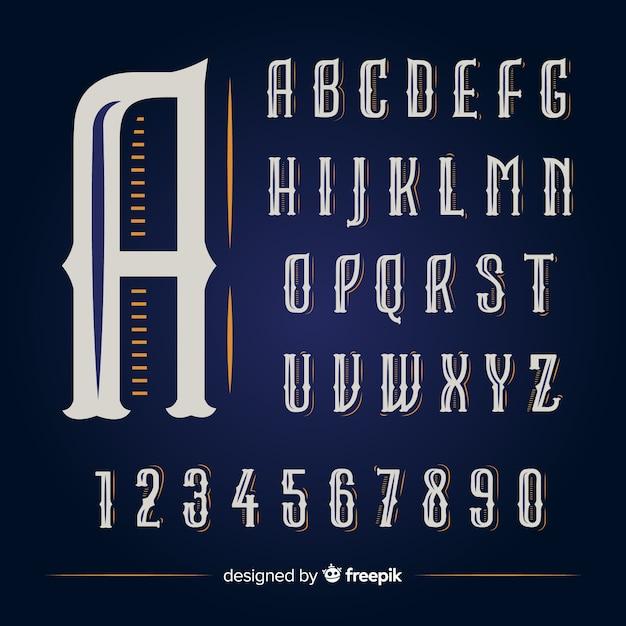 Винтажный алфавит Бесплатные векторы
