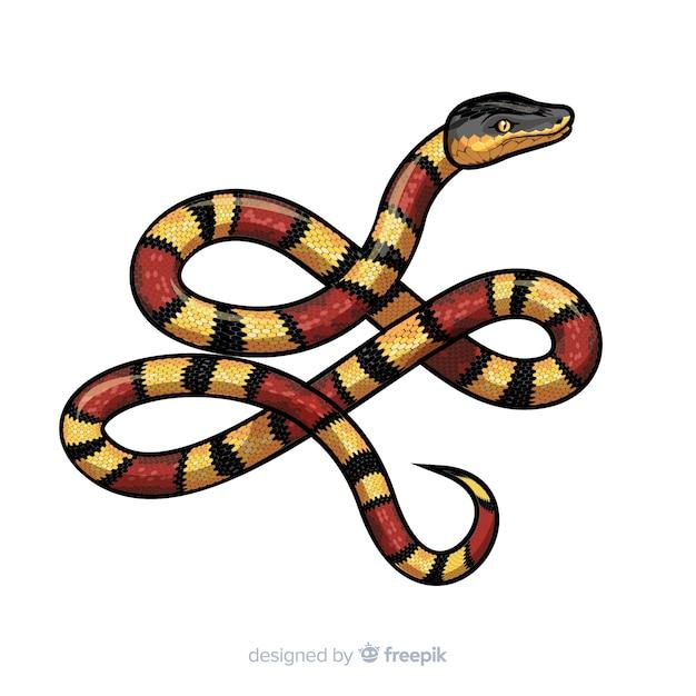手描きのリアルなヘビの背景 無料ベクター