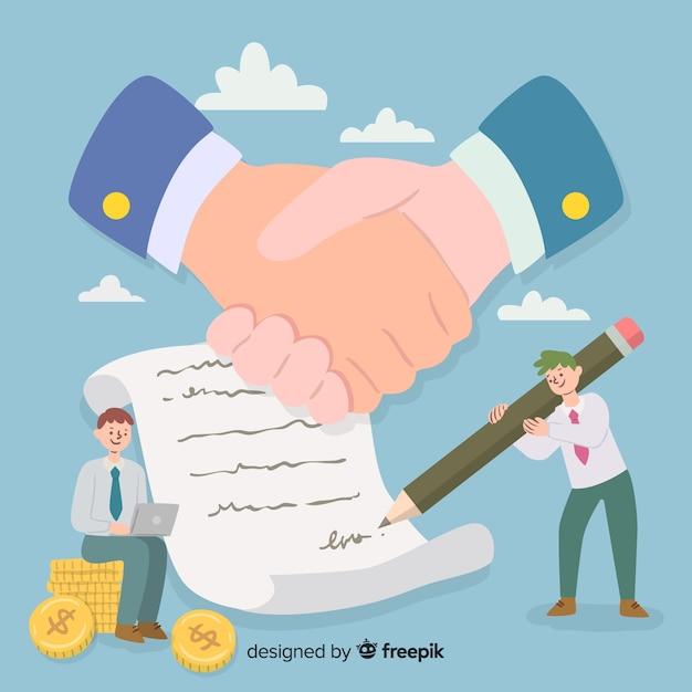 Нарисованная рукой концепция коммерческой сделки Бесплатные векторы