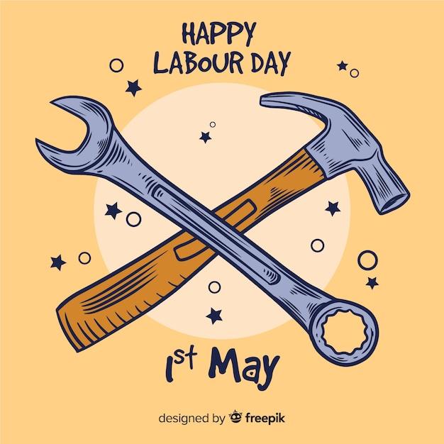 幸せな労働者の日の背景 無料ベクター