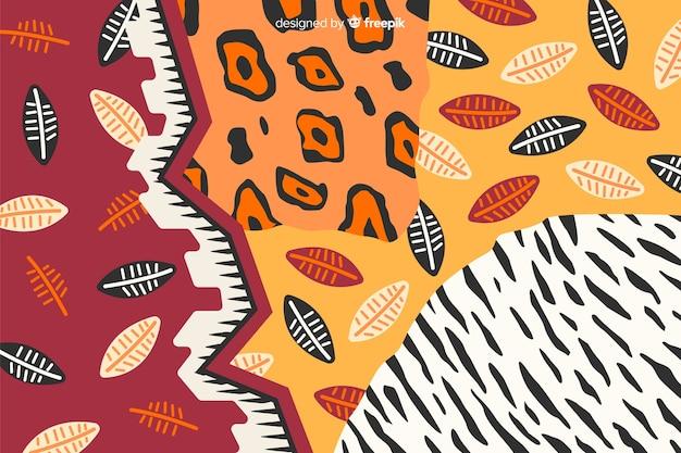 アフリカの布と動物の皮の背景 無料ベクター