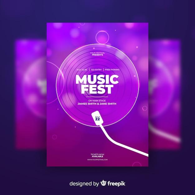 Красочный абстрактный музыкальный фестиваль постер шаблон Бесплатные векторы