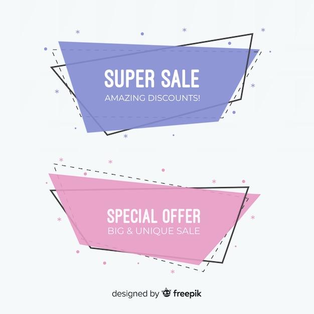 Геометрические продажи баннеров Бесплатные векторы