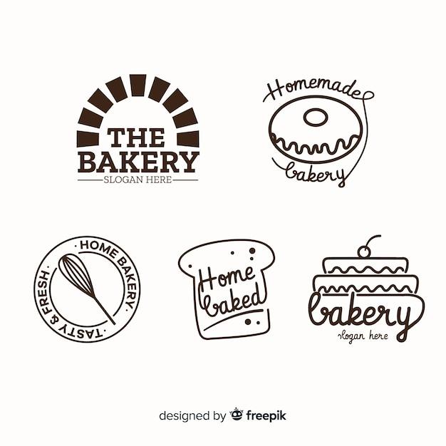 ラインアートベーカリーのロゴのテンプレート 無料ベクター