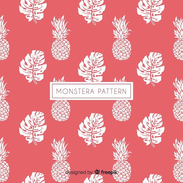手描きモンステラの葉とパイナップルの背景 無料ベクター