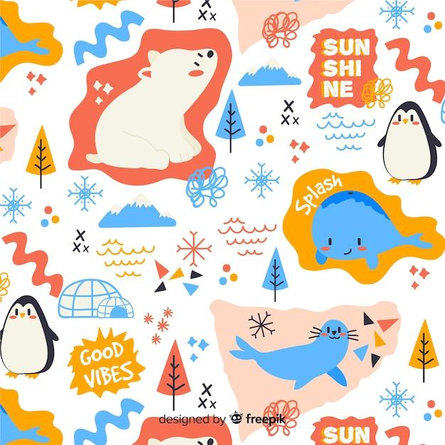 Красочный рисунок животных и слова шаблон Бесплатные векторы