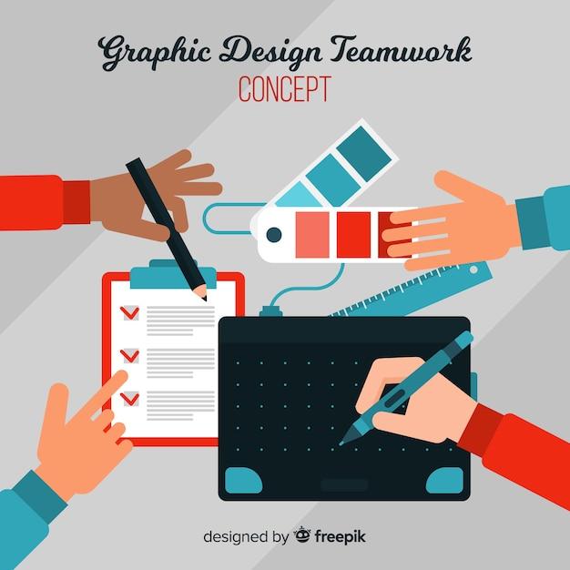 Концепция совместной работы графического дизайна Бесплатные векторы