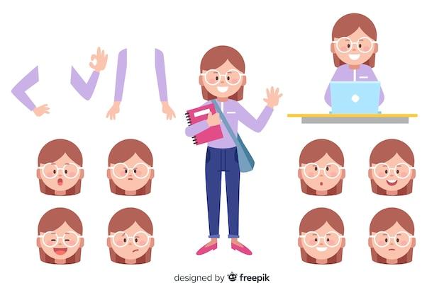 Мультфильм девушка для дизайна движения Бесплатные векторы