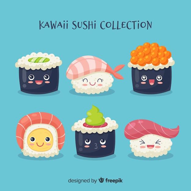 Каваи суши коллекцион Бесплатные векторы