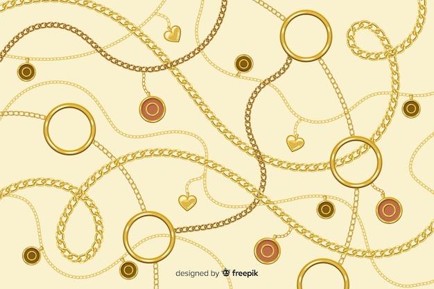 Фон плоские золотые цепочки Бесплатные векторы