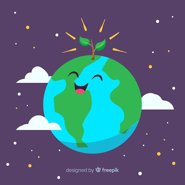 幸せな母地球日手描きの背景 無料ベクター