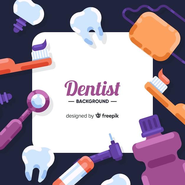 平らな歯科医の背景 無料ベクター