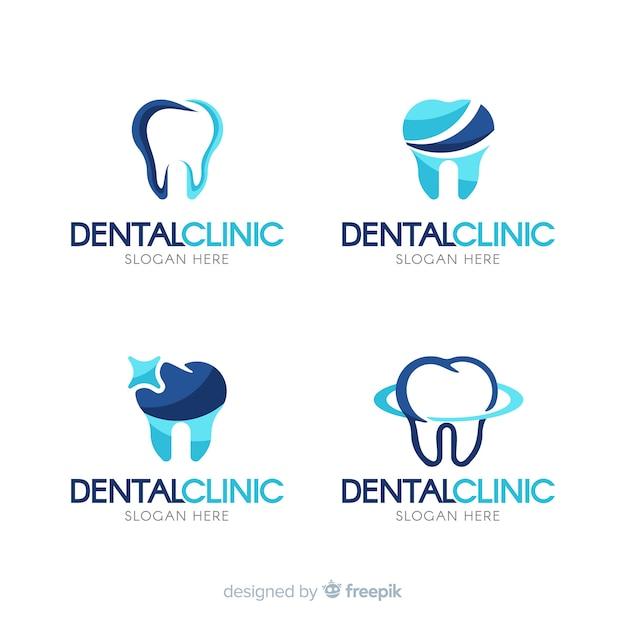 Плоский логотип стоматологической клиники Бесплатные векторы