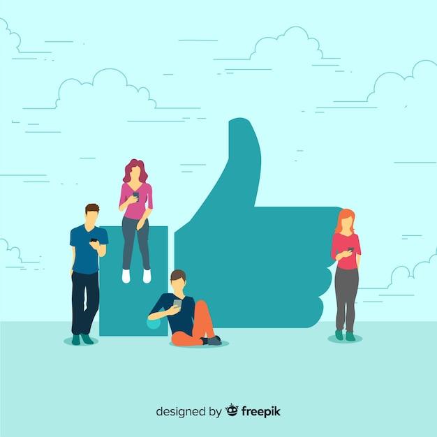 Ручной обращается молодые люди социальные медиа, как концепция фона Бесплатные векторы