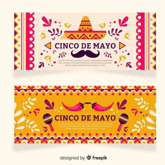 Плоские баннеры синко де майо Бесплатные векторы