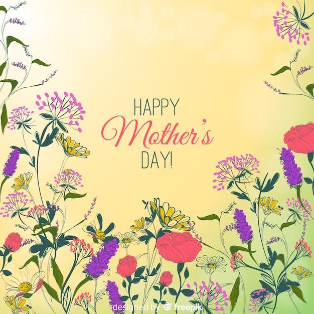 母の日手描きの花の背景 無料ベクター