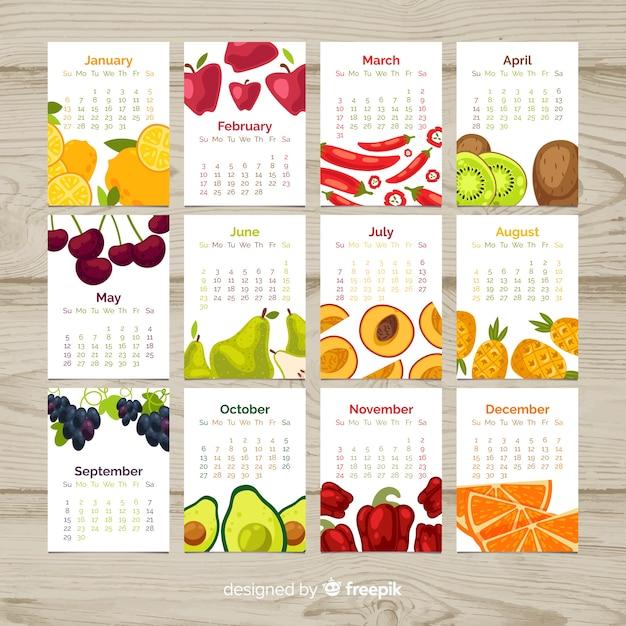 Календарь сезонных овощей и фруктов Бесплатные векторы