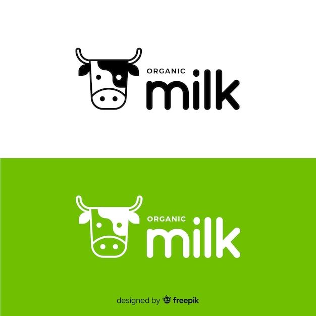 フラット牛乳ロゴ 無料ベクター