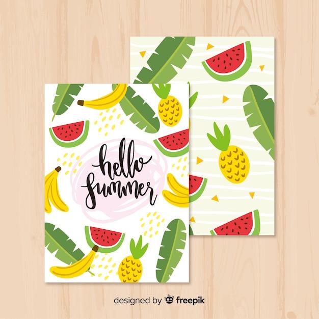Коллекция летних открыток Бесплатные векторы