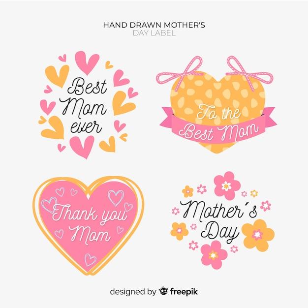 Коллекция значков день матери Бесплатные векторы