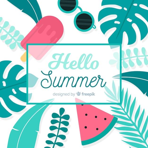 Привет лето Бесплатные векторы