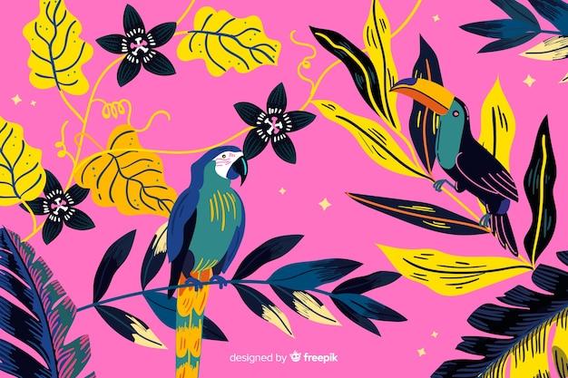 手描きの熱帯鳥と葉の背景 無料ベクター