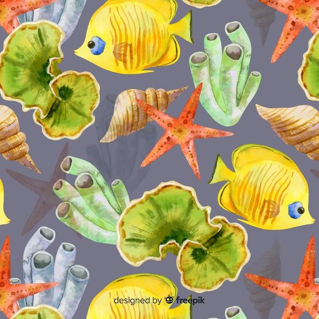 水彩のサンゴと海の動物の背景 無料ベクター