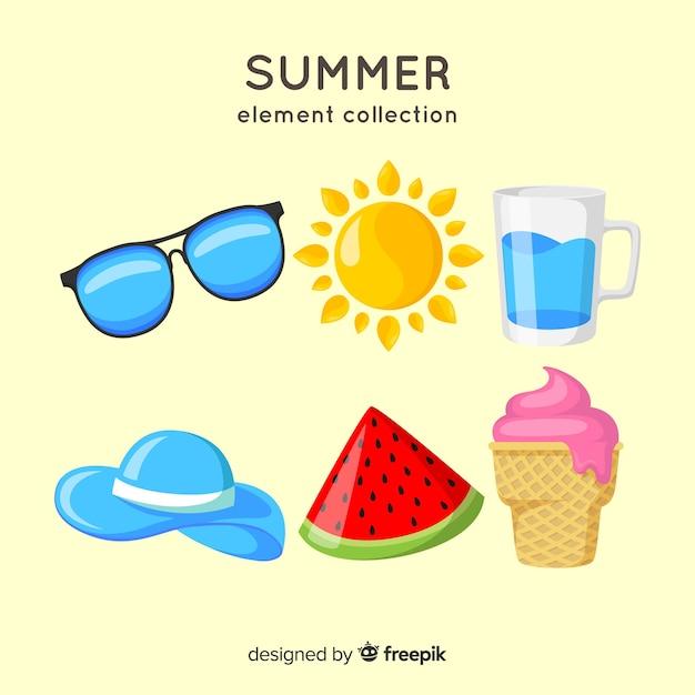 夏要素コレクション 無料ベクター
