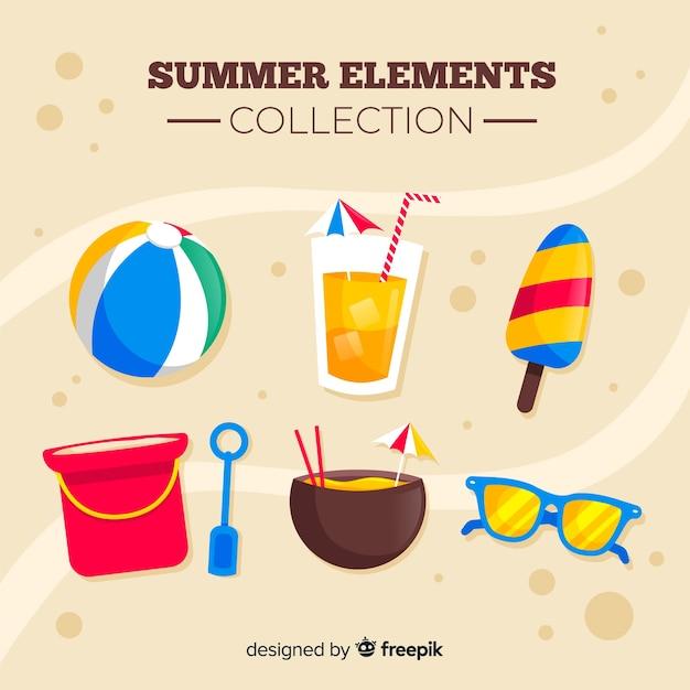 カラフルな夏の要素のコレクション 無料ベクター