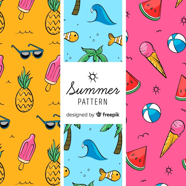 カラフルな夏要素パターン 無料ベクター
