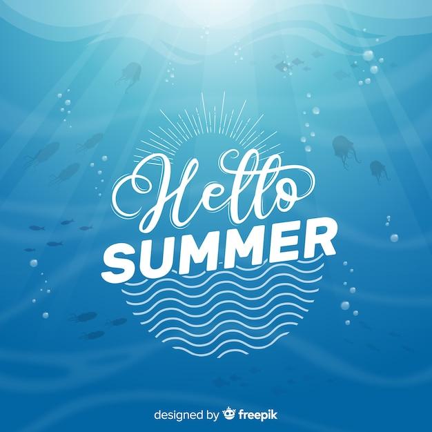 夏の背景をレタリング 無料ベクター