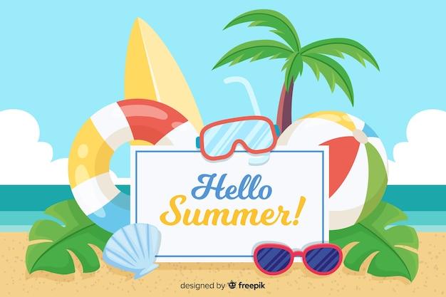 手描きビーチ夏の背景 無料ベクター